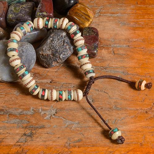 Buffalo bone w. turquoise Lotus mala