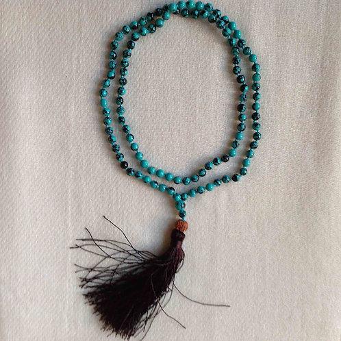108-mala Lotus (turquoise)