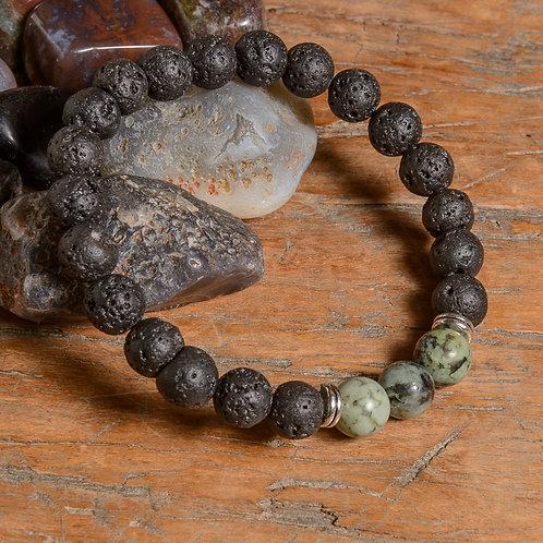 Lava & Turquoise Lotus mala