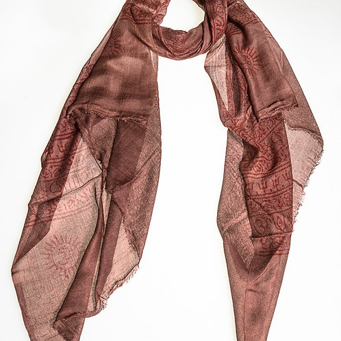 Om B scarf: Copper brown