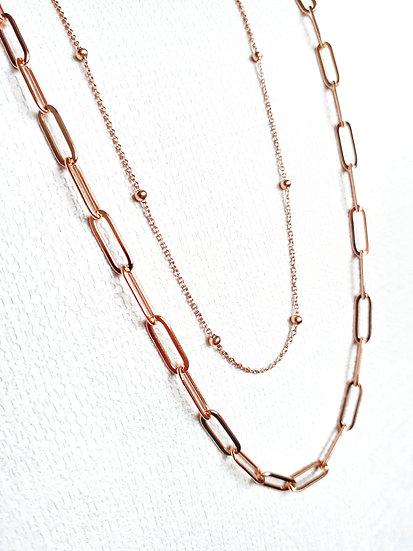 COLLIER à très fine maille et perles OR ROSE en acier inoxydable