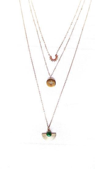 COLLIER 3 chaines DORE & SOLEIL avec médaille étoile strass dorée en acier