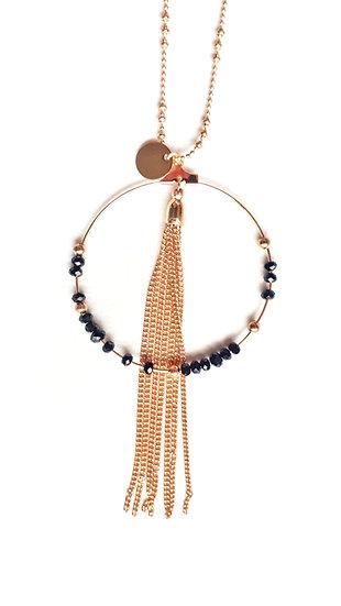 COLLIER 2 chaines DOREES: feuille & anneau doré & perles noires et gland