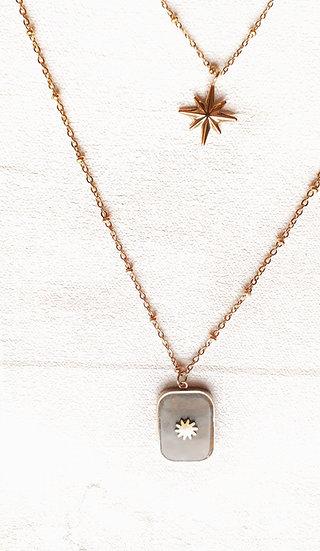 COLLIER 3 chaines DORE: pierre grise rectangulaire et étoile dorée