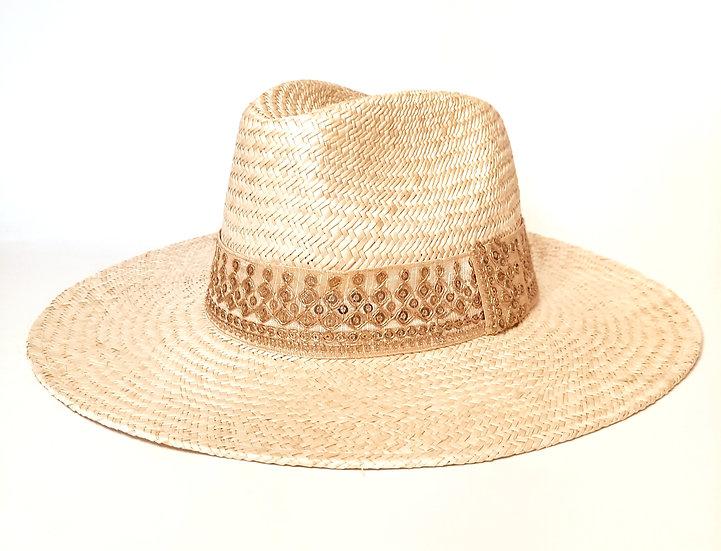Chapeau en paille à Bord Large et galon écru brodé doré