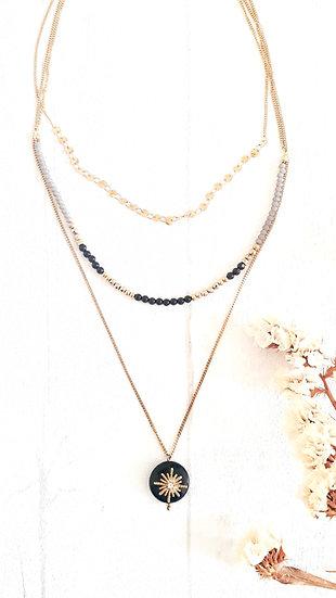 COLLIER 3 chaines DORE & NOIR: sequins, perles noires, grises & dorées +soleil