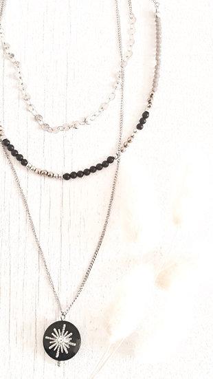 COLLIER 3 chaines ARGENT & NOIR : perles et strass soleil