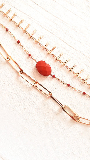 BRACELET 3 rangs doré & ROUILLE : chaine à grosses mailles, perle ovale et mini