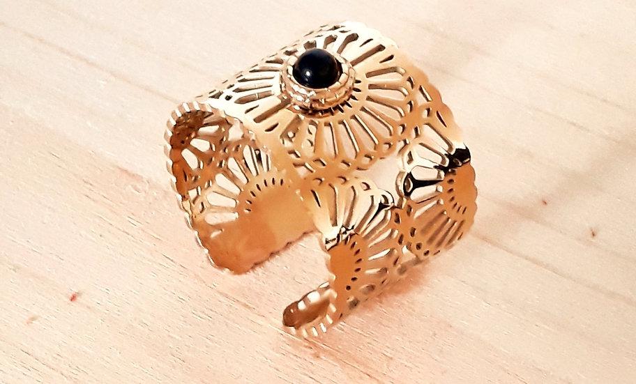 BAGUE dorée mandala ajourée et sa perle noire ajustable, en acier chirurgical
