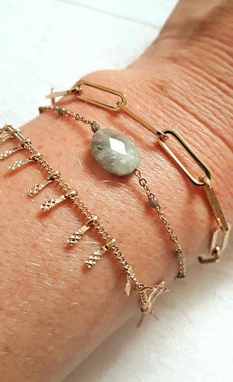 BRACELET 3 en1 doré & GRIS : chaine grosse mailles, pierre ovale,mini perles