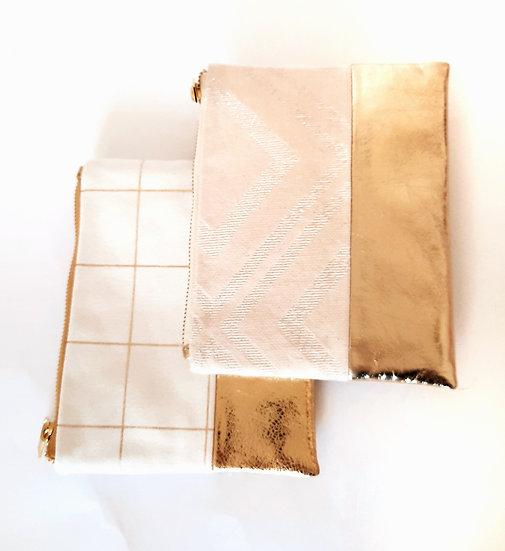 Pochette en cuir doré & coton blanc lurex