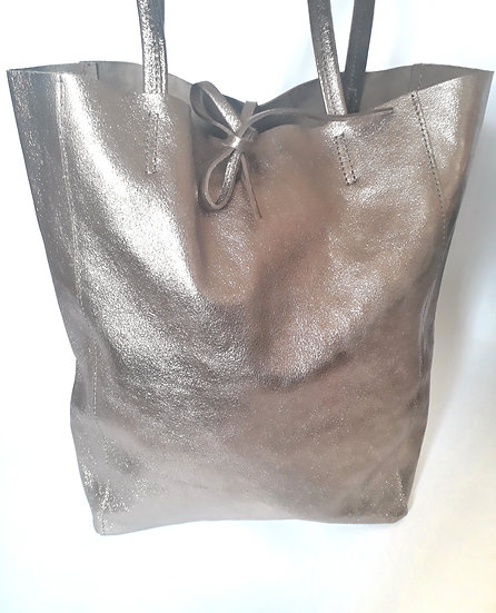 SAC EN CUIR CHAMPAGNE BRILLANT  made in Italy - Cabas