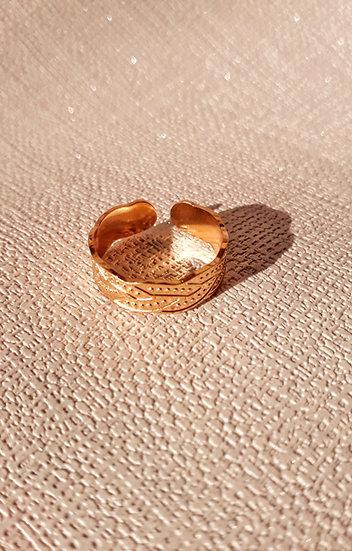 BAGUE anneau doré 2 tresses en acier inoxydable et ajustable