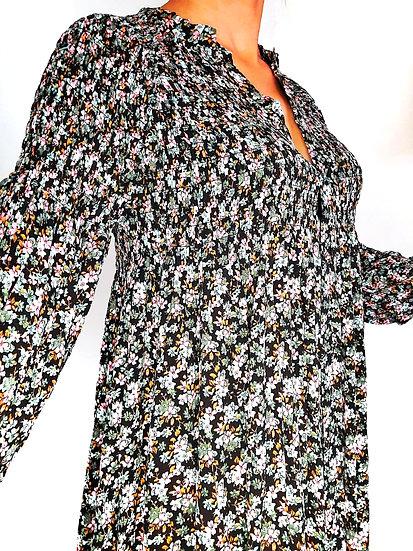 Robe longue fleurie Bohème smockée NOIR Marbella