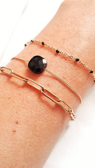 BRACELET 3 rangs doré & NOIR : grosse chaine, perle carrée et mini perles noires