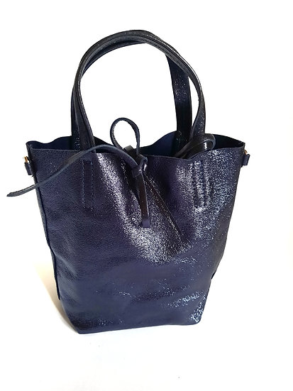 PETIT SAC EN CUIR MARINE BRILLANT  made in Italy - Cab