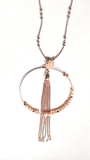 COLLIER 2 chaines coloris OR ROSE: feuille, anneau avec perles roses et gland