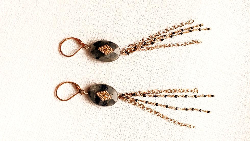 Boucle d'oreille dorée & GRISE: perles noires, losange doré et pampilles