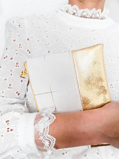 Pochette en cuir doré & coton