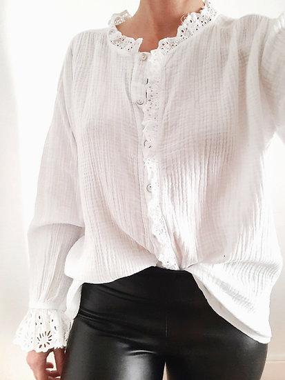 BLOUSE blanche en gaze de coton & broderie anglaise