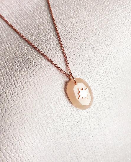 COLLIER à fine maille et pierre rose & étoile en acier ROSE inoxydable