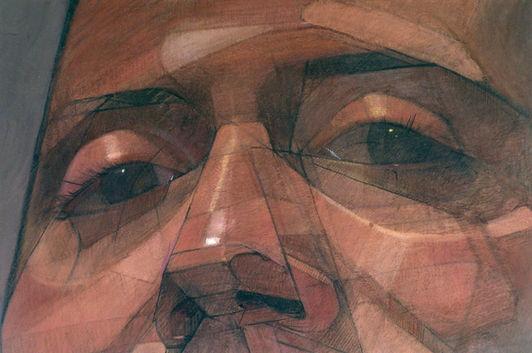 Autoportrait, pastel sur toile, 141x 133cm, 2004 (détail)
