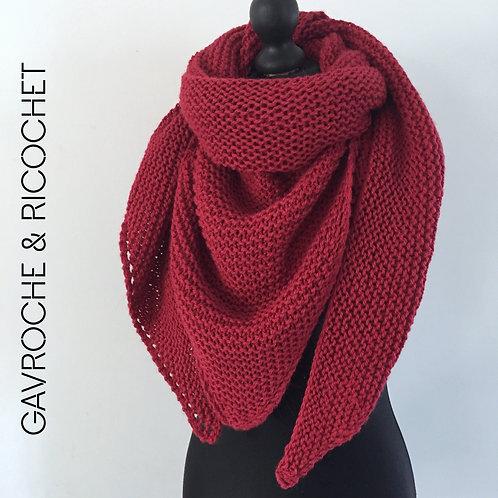 Trendy-châle en alpaga et en laine - Rouge profond