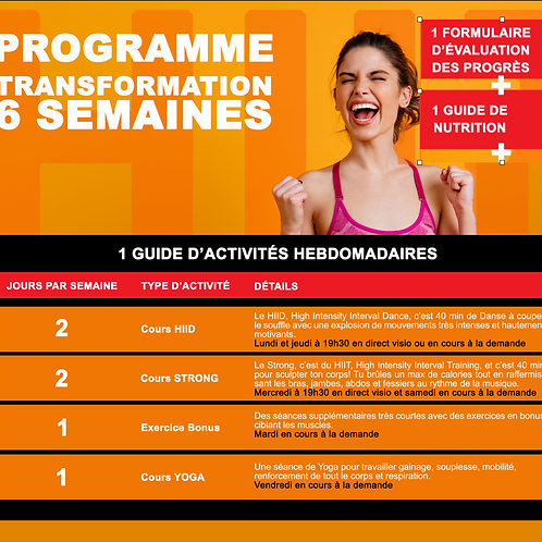 PROGRAMME TRANSFORMATION 6 SEMAINES