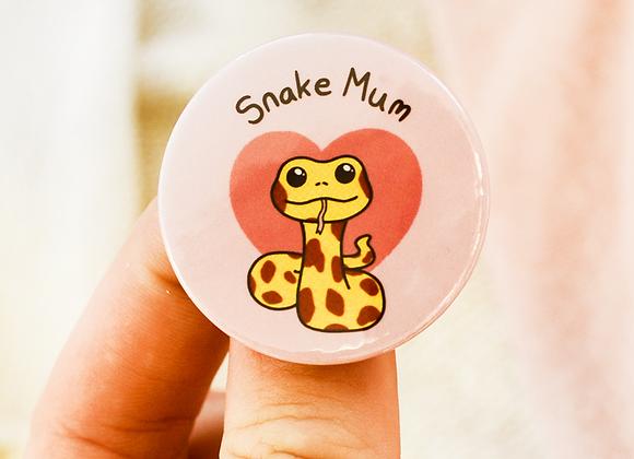 snake mum badge, snake owner badge, gift for snake owner