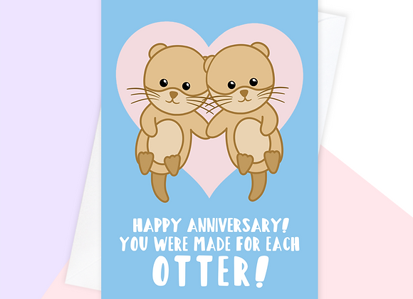 funny anniversary card for couple, otter anniversary card for parents