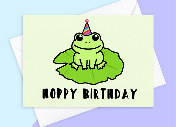 frog birthday card, birthday card for frog lover