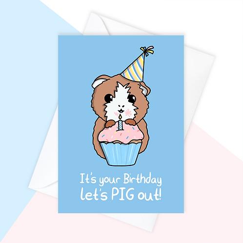 Guinea Pig Cake Birthday Card
