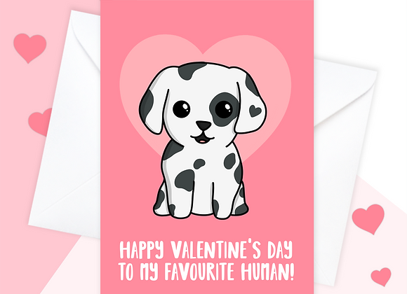 Dalmatian valentines card, valentines card from the Dalmatian