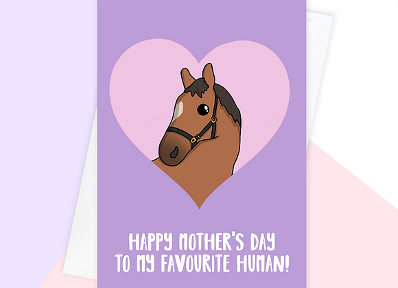 horse mothers day card, mothers day card from horse