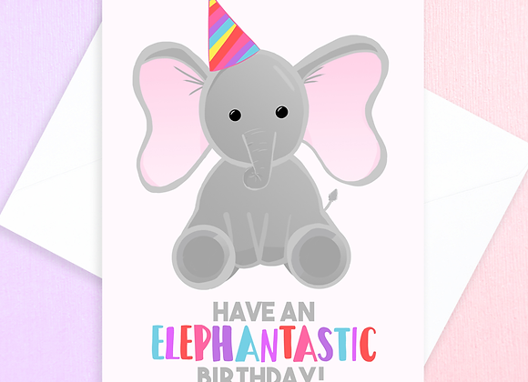 elephant birthday card for child