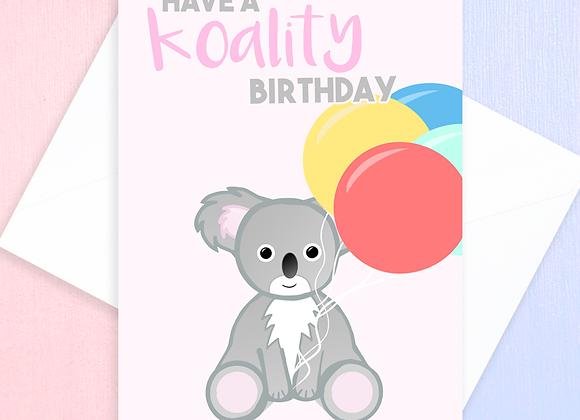 koala birthday card, australian birthday card, koala lover birthday card