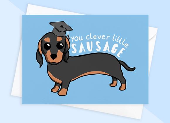 Clever Little Sausage Graduation Card