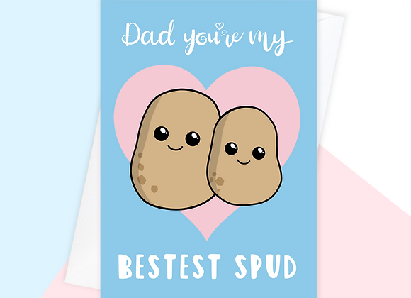best friend fathers day card, potato fathers day card