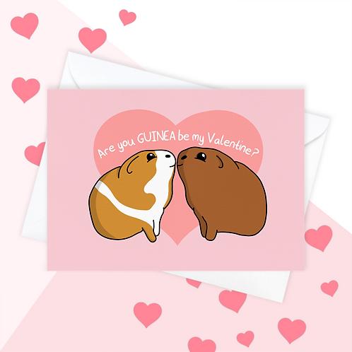 Guinea Pig Valentine's Day Card
