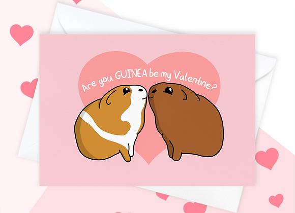 Guinea Pig Valentine's Card, Valentine's Card For Guinea Pig Owner