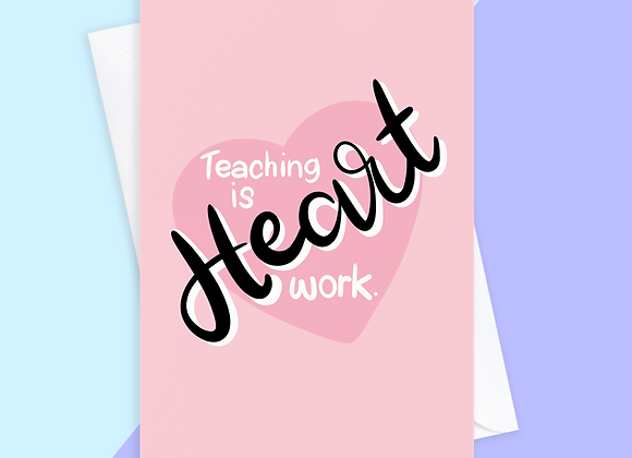 Thank You Teacher Card - Heart Work