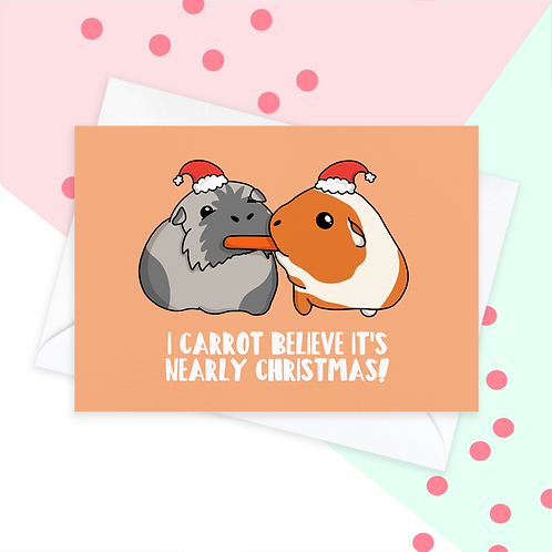 Guinea Pig Carrot Christmas Card
