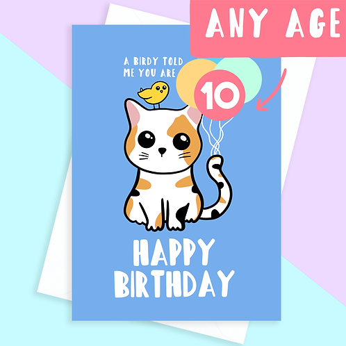 Cat Age Birthday Card