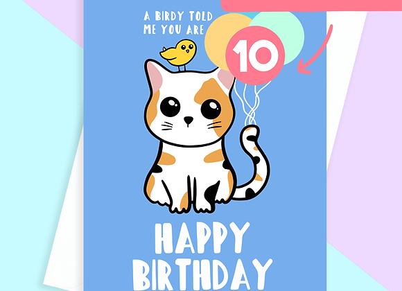 cat age birthday card, cat pun birthday card