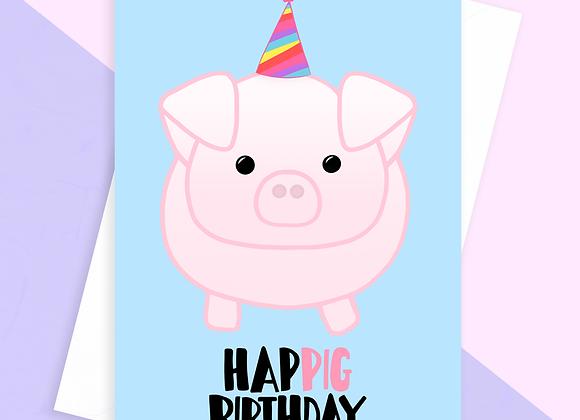 funny pig birthday card, birthday card for pig lover