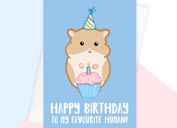 hamster birthday card, birthday card from the hamster