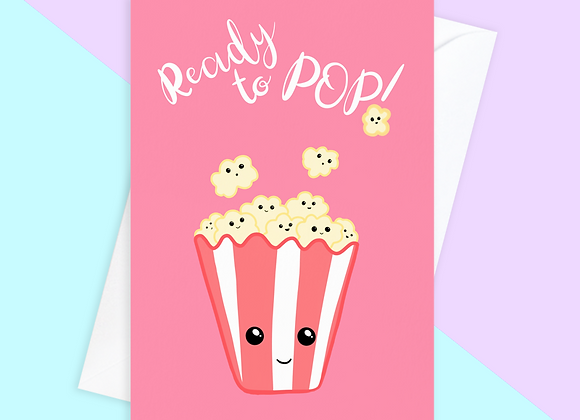 ready to pop pregnancy card, funny baby shower, overdue baby card