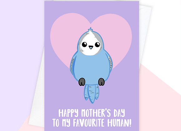 Budgie Mother's Day Card, Mother's Day Card From The Budgie
