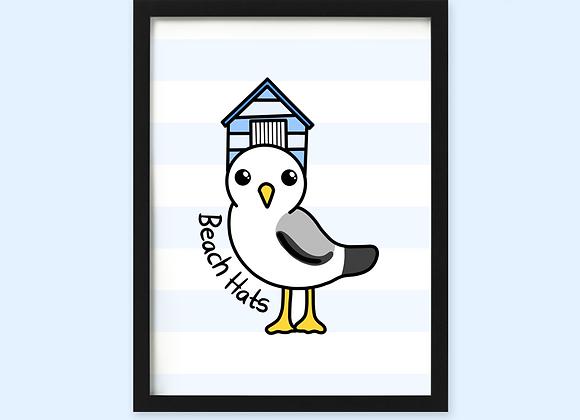 brighton funny seagull print, brighton beach hut print