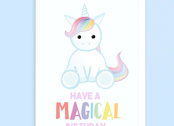 unicorn birthday card, birthday card for unicorn lover